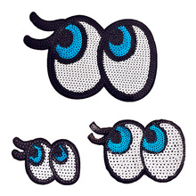 1PCS Eyelas Eyes Sequins Fabric Patch Embroidered Iron on Patches For Clothing DIY Decoration Clothes Stickers Applique Badge