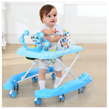 Infant Child Baby Walker with PU Mute Wheels Learning Walker Anti Rollover Multi-function with Music Foldable Walking Assistant