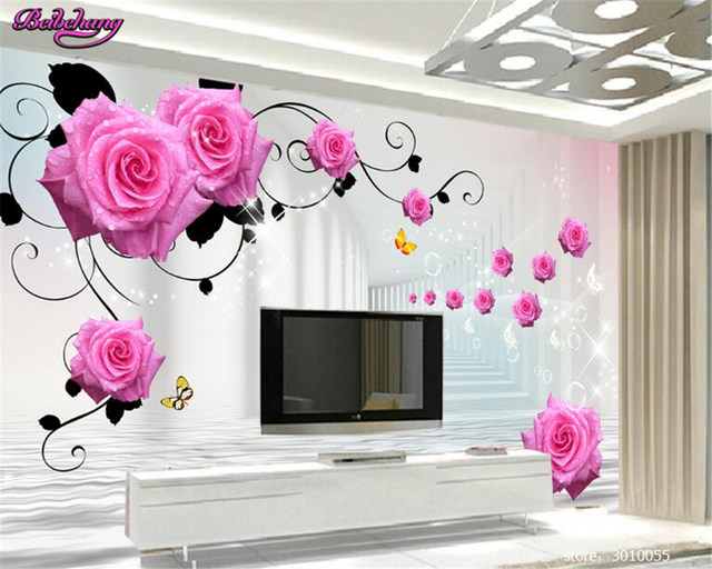 Beibehang 3d Wallpaper Fashionable Classic Of Pink Rose Pattern 3D Stereo TV Background Wall Papel