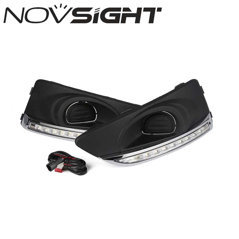 NOVSIGHT Daytime Running Light Car LED DRL Fog Lamps Cover for Chevrolet AVEO 2011 2012 2013 D20 qvvcev 2pcs new car led fog lamps 60w 9005 hb3 auto foglight drl headlight daytime running light lamp bulb pure white dc12v