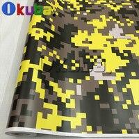 Глянцевая матовая отделка большая цифровая камуфляжная виниловая Автомобильная обертка желтый тигр Камуфляжный узор армейская пленка для