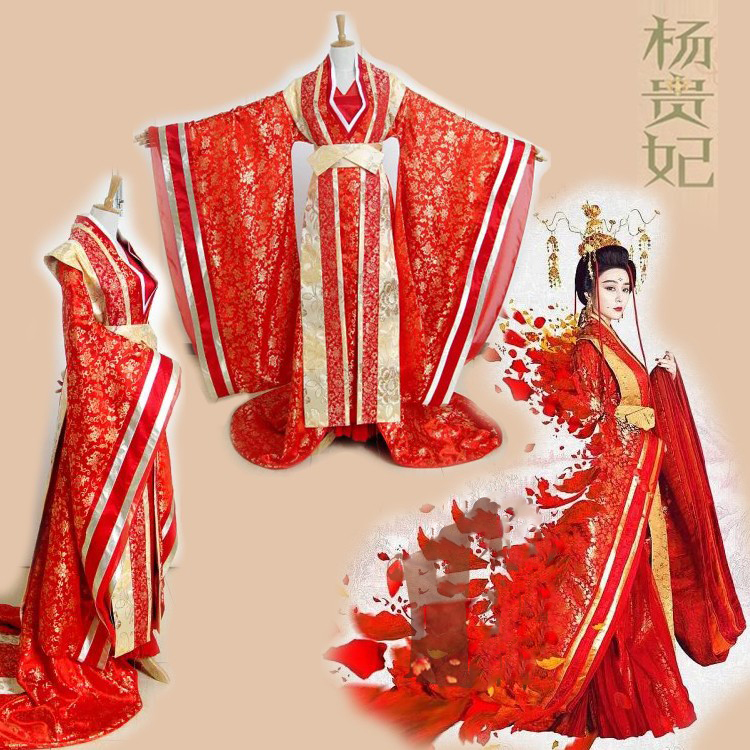 Red Princess Costume Wedding Costume Lady Of The Dynasty Tang Empress Yang Guifei  Mum And Daughter Parent-Child Hanfu Set