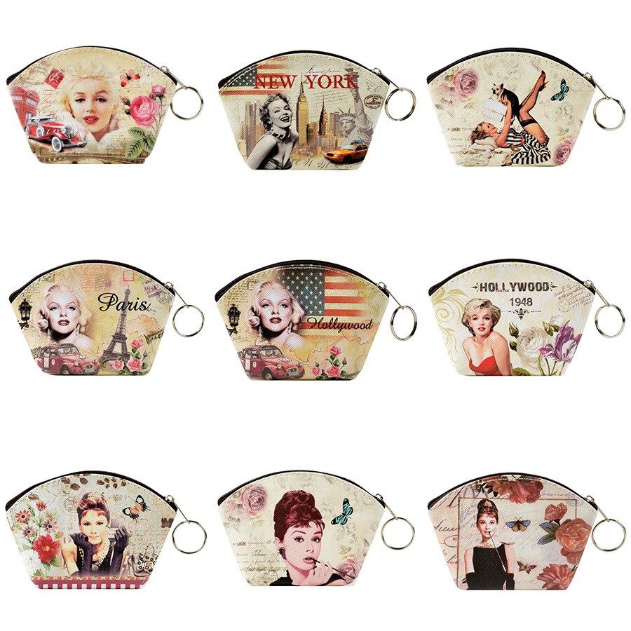 Newest Graffiti Marilyn Monroe Coin Purse Change Purse Audrey Hepburn Card Holder Women Mini Wallet Purse Girls Zipper Coin Bag