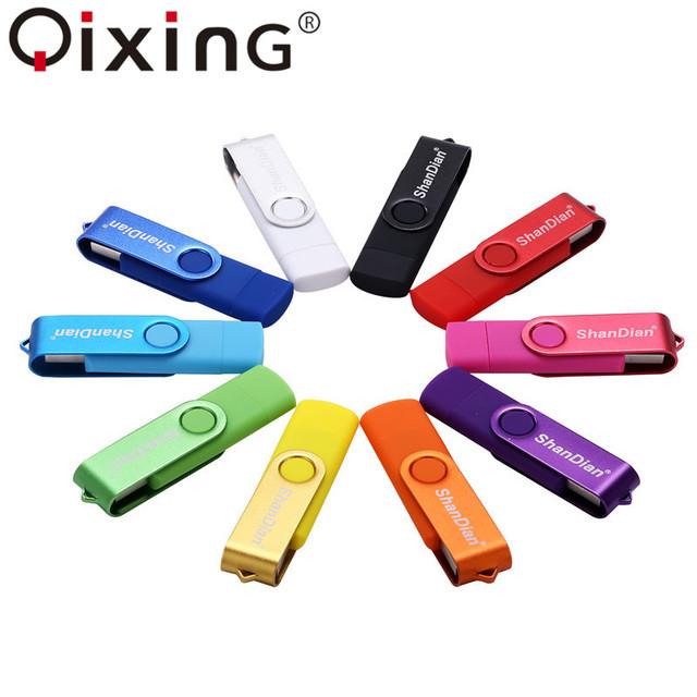 QIXING USB flash drive OTG high Speed drive 64 GB 32 GB 16 GB 8 GB 4GB external storage double Application Micro USB Stick