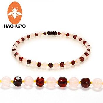 33c37a113a17 HAOHUPO personalizable ámbar pulseras de cuarzo rosa Natural joyería  Original para adultos bebé pulseras de ámbar Báltico regalo