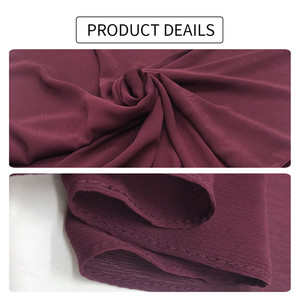 Image 5 - High quality plain crepe chiffon hijab scarf gorgeous solid muslim scarfs natural pleated scarves hot sale maxi hijabs