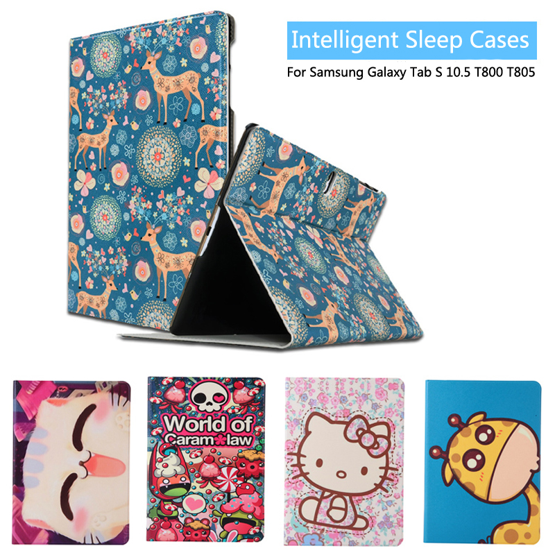 Fashion Painted Flip PU Leather sFor Samsung Galaxy Tab S 10.5 Case For Samsung Galaxy Tab S T800 T805 Smart Case Cover + Gift fashion painted flip pu leather for samsung galaxy tab a 10 1 sm t580 t585 t580n 10 1 inch tablet smart case cover pen film
