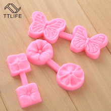 TTLIFE Round/Square Four/Five Petal Flower Silicone Mold Fondant Cake Pastry Decorating DIY Tools Dessert Chocolate Baking Mould
