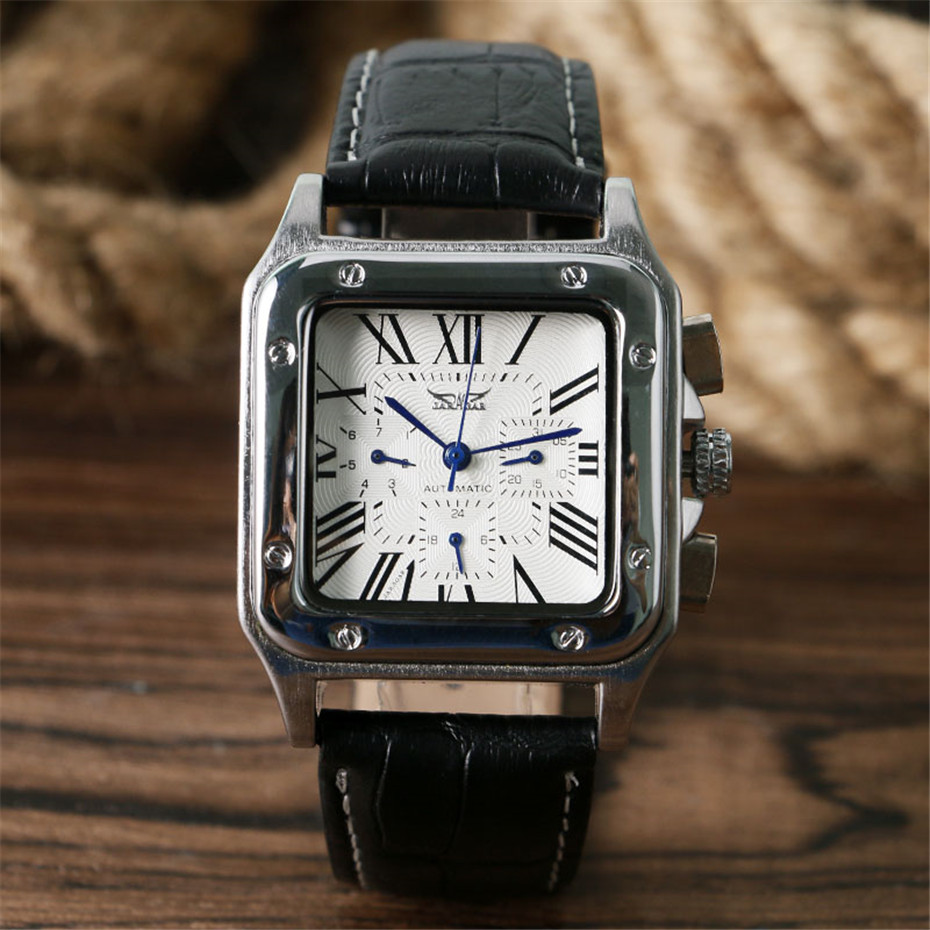 JARAGAR Mechanical Watches Men Fashion Genuine Leather Wrist Watch Automatic Date Day Display Watches Mens Clock with Gift Box (5)