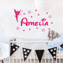 Personalized Girl Name Wall Decal Vinyl Home Decor Kids Room Nursery Sticker Customized Girls Bedroom Angel Star 3N04