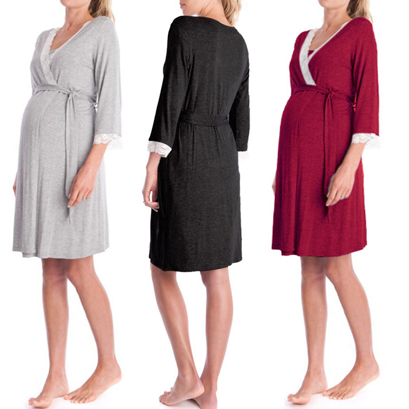 Night-Gown Cotton Robes Pregnant-Maternity Sleepwear Dress Pajamas Soft Women Loose 3/4-Sleeve