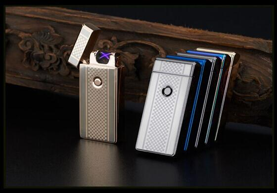 1pcs electronic cigarette lighter Usb charging ultra thin windproof lighters for smoking arc pulse arc creative