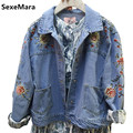 2017 Retro Super Cool Denim Jacket Women Embroidered Flowers Oversized Jean Jacket Loose Long Sleeve Coat Female Jackets Fe420