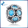 Hot Sell GIFT 925 Sterling Silver Sky Blue Crystals Studded Lights, Teal CZ Charms Fit Pandora Bracelet Jewelry Accessories