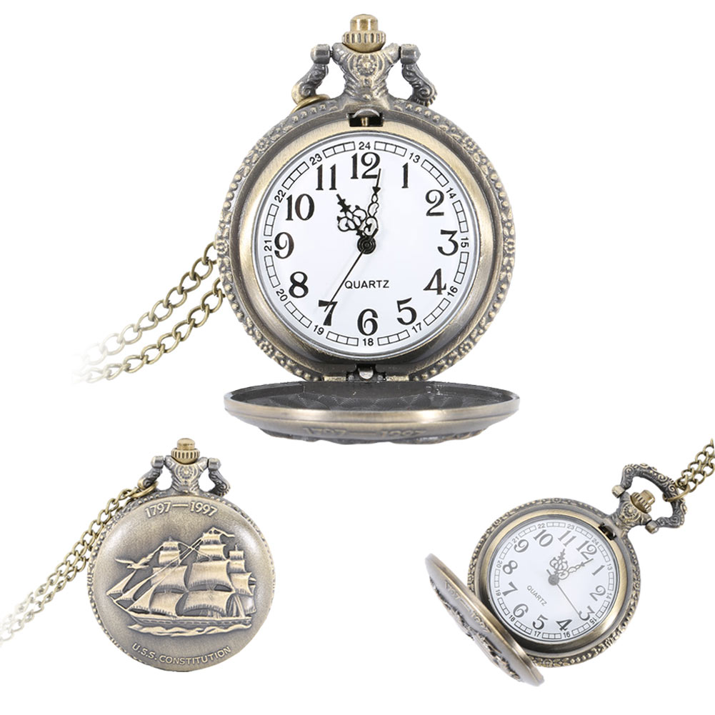 Vintage Steampunk Sailing Boat Ship Case Pocket Watch Pendant Necklace Chain Quartz Fob Watches LXH vintage watch steampunk men skeleton mechanical fob pocket watch clock pendant hand winding men women chain with gift box