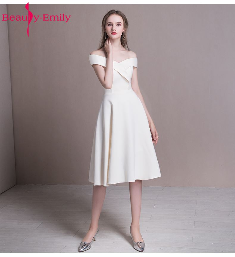 Beauty-Emily Champagne White   Bridesmaid     Dresses   Cheap Graduation Homecoming Gowns Vestido De Festa Short Party Prom   Dress