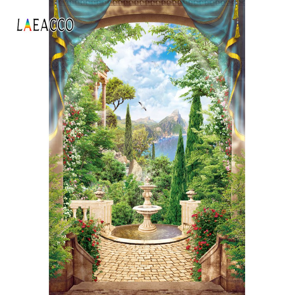 Laeacco Garden Flowers Vine Fountain Mountain Tree Cloudy Curtain Scenic Photo Background Photography Backdrops For Photo Studio