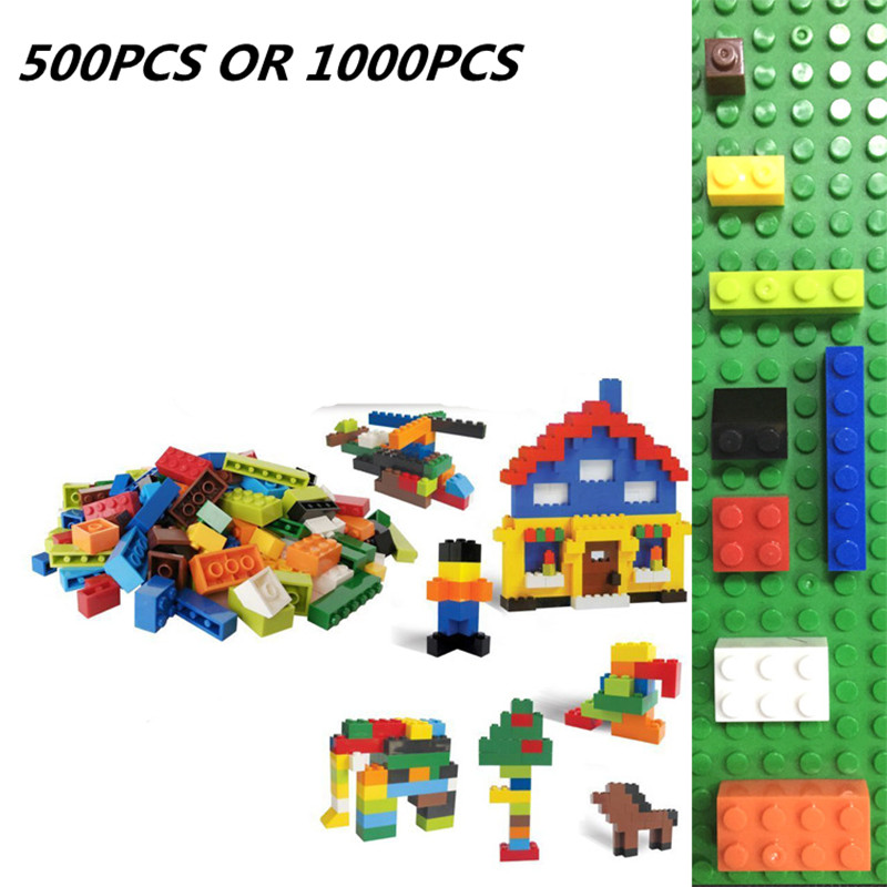 1000 Pcs Building Bricks Set City DIY Creative Brick Toys For Child Educational Building Block Bulk Bricks Compatible Gift 12 pcs set diy figures city policeman fireman magician teacher nurse building blocks toys kids educational city set child gift