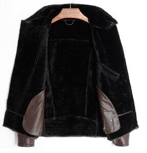 Image 5 - Free shipping.Mens plus size genuine leather jacket.motor biker sheep fur coat,winter warm 100% sheepskin clothes.soft shearling