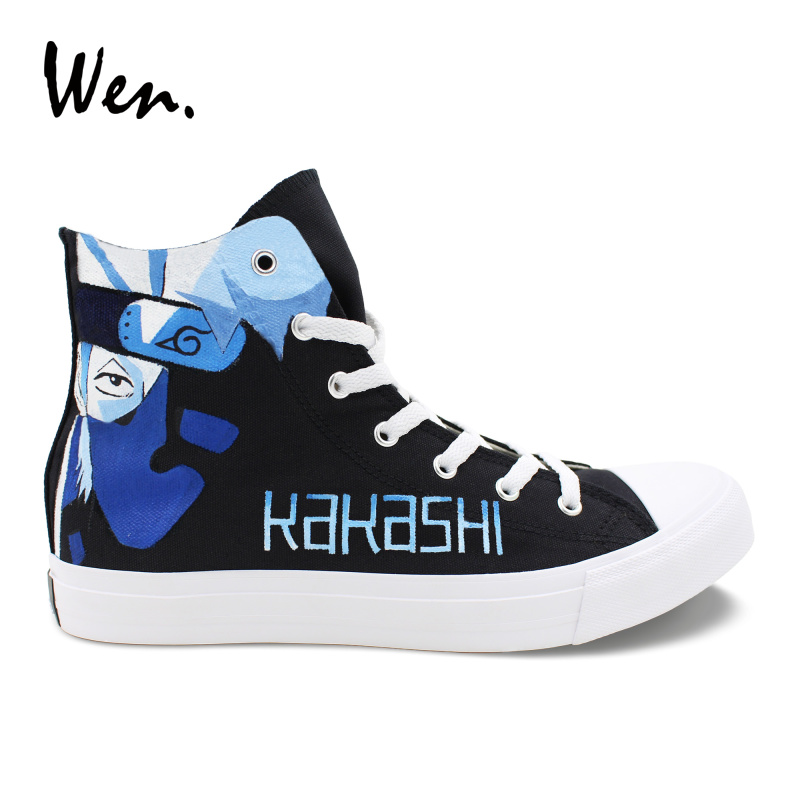 Wen Customized Canvas Sneakers Man Plimsolls Naruto Kakashi Lee Hand Painted Shoes Woman Casual Flat Young People Anime Loafers naruto rock lee