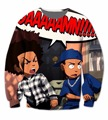 Real USA Size Custom Made Craig _ Smokey x Boondocks Huey _ Riley 3D Sublimation print Crewneck Sweatshirts plus size