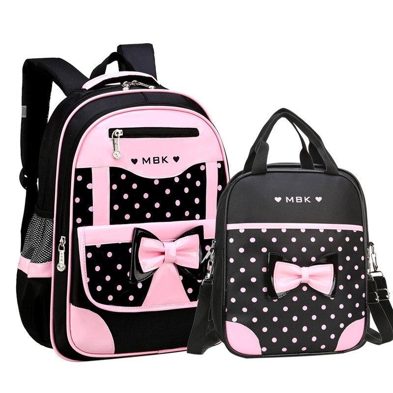 DIOMO 6-12 Yaşında çocuk okul çantası Kız için Set Moda Nokta Sevimli Yay okul sırt çantası Başlangıç Okul kız için en iyi Hediye