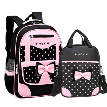 DIOMO 6-12 Year Old child's School Bag Set for Girl Fashion Dot Cute Bow School Backpack Starting School The Best Gift for Girl