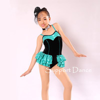 Girls Velvet Sequin Camisole Latin Dress Women Sexy Short Contemporary Performance Costume Support Dance C316