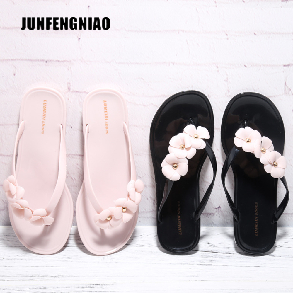 JUNFENGNIAO Women Sandals Flats Slipper Shoes Female Flower Flip Flops Floral Jelly Summer Beach Indoor PVC Superstar JCYP-2 bossa nova платье