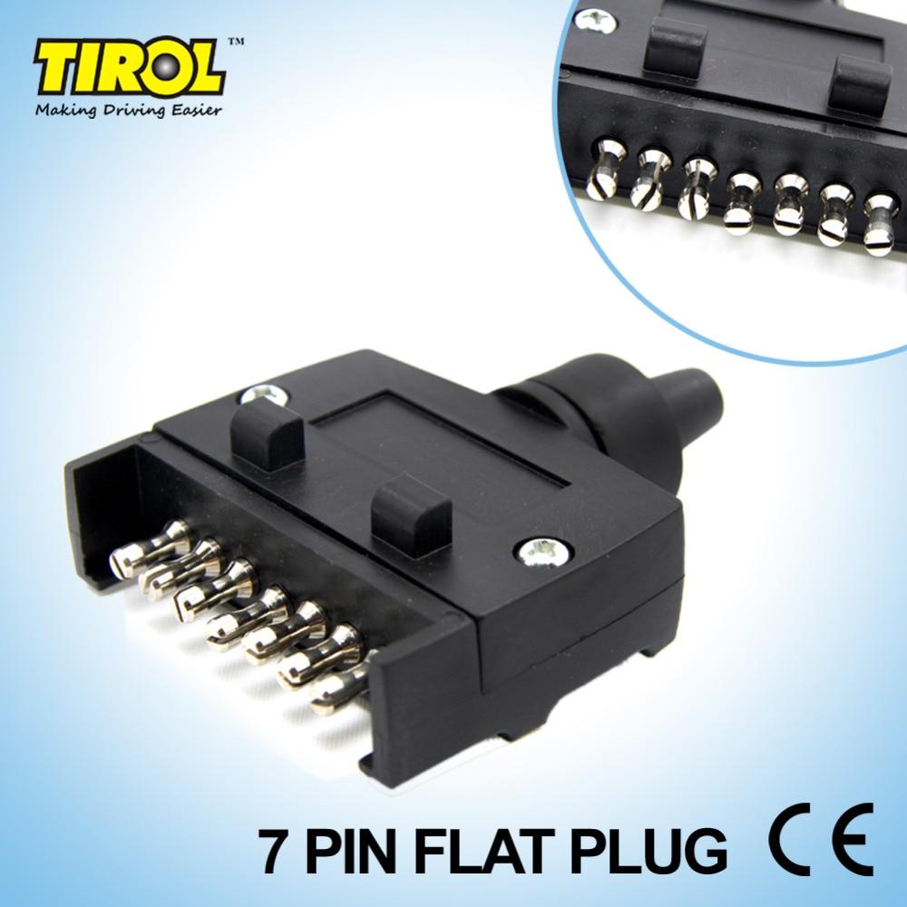 TIROL T21228b New 7-Pin Flat Trailer Plug Light Connector 12V 7 Way Male Trailer Adapter For Caravan RV Boat Truck