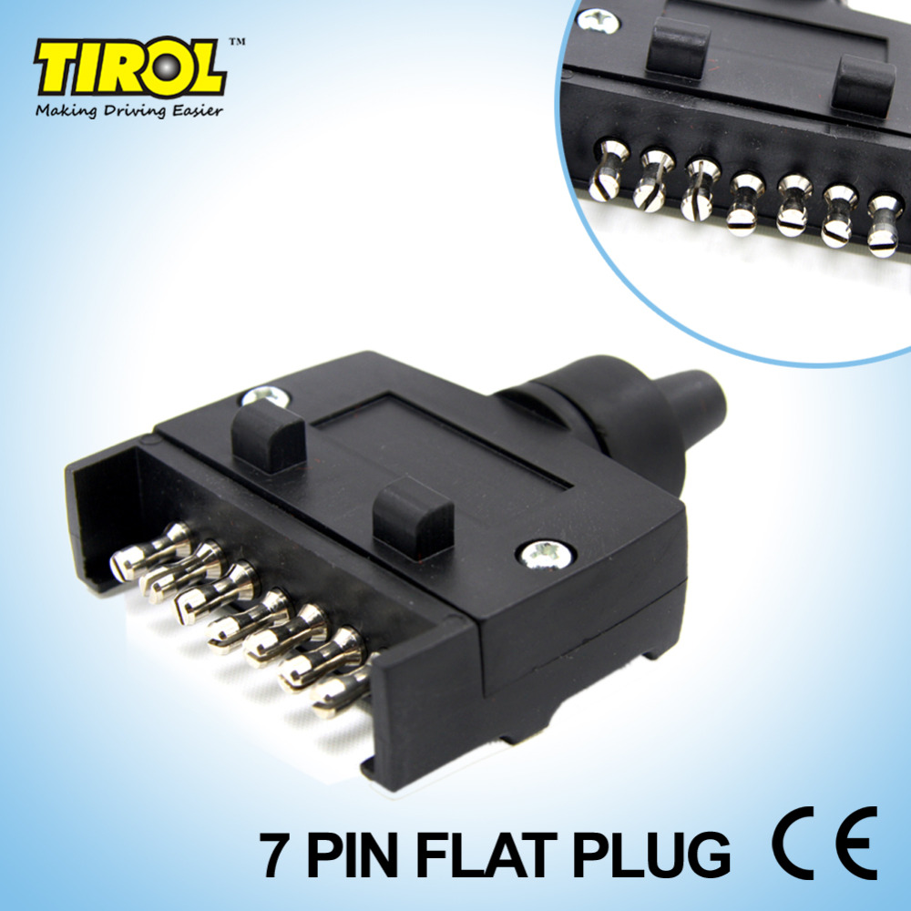 TIROL T21228b New 7-Pin Flat Trailer Plug Light Connector 12V 7 Way Male Trailer Adapter ...
