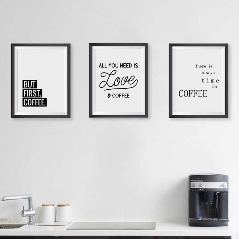 Coffee Quote Wall Art Prints Kitchen Home Decor , Love Coffee Poster Canvas Painting Prints Coffee Shop Wall Decor