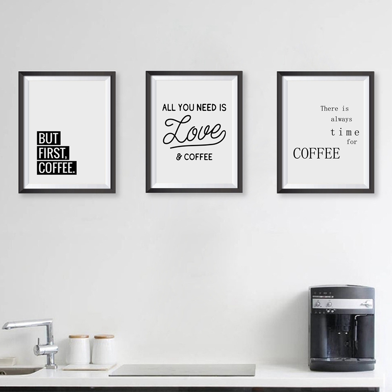 Kitchen Decor Stores: Coffee Quote Wall Art Prints Kitchen Home Decor , Love