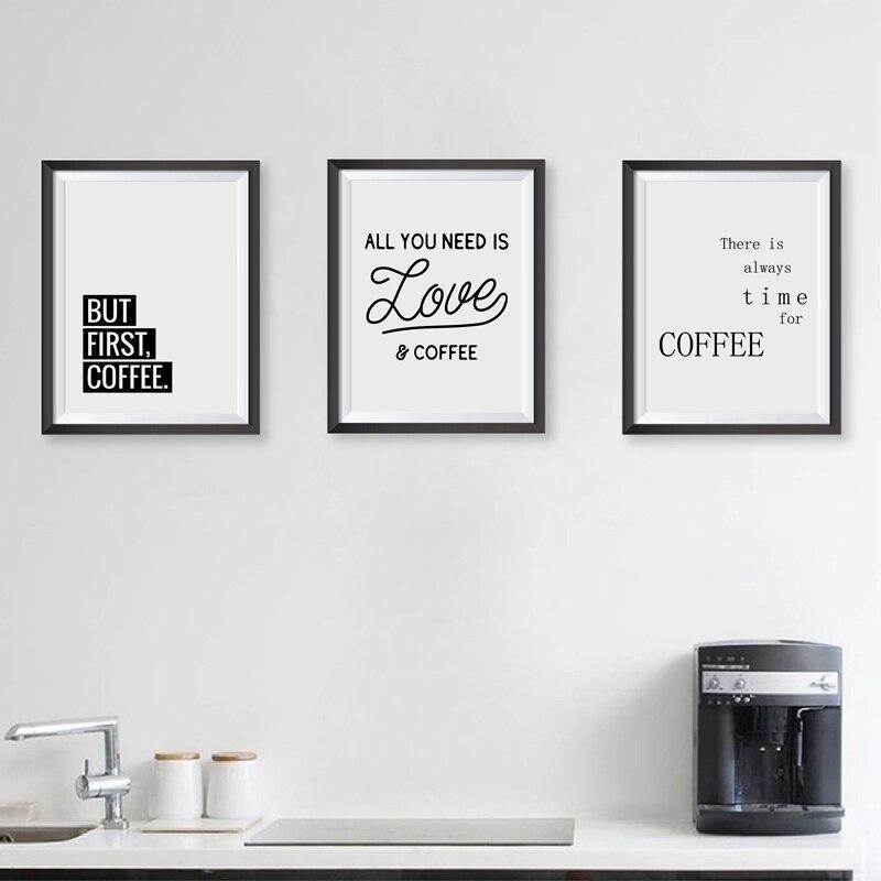Coffee Quote Wall Art Prints Kitchen Home Decor Love