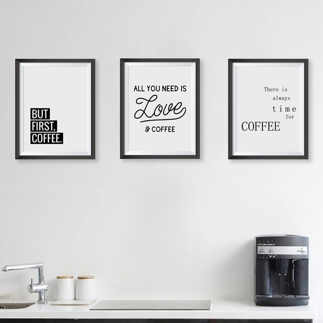 Coffee quote wall art prints kitchen home decor love coffee poster canvas painting prints coffee