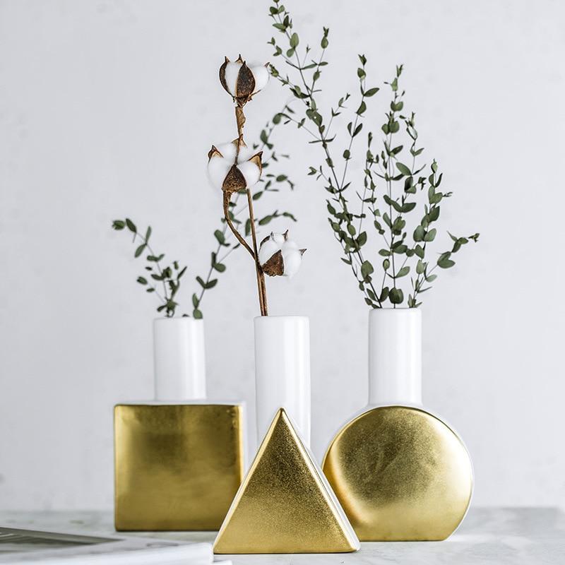 Ceramic Decorative Geometric Vase White Gold Square Flower