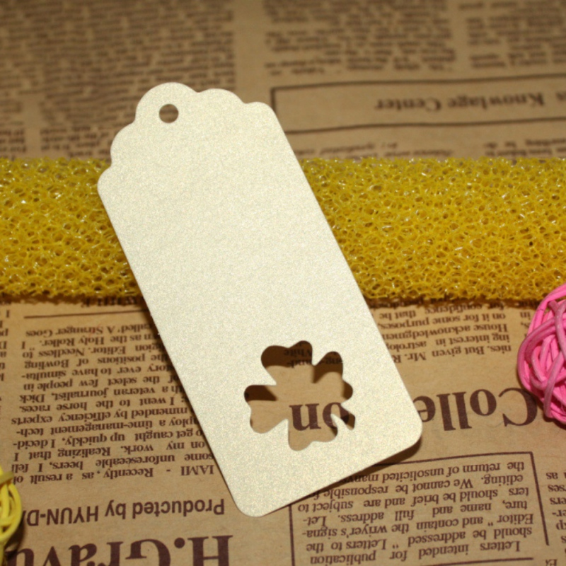 100Pcs Colorful DIY Kraft Paper Tags Rectangle Clover Lucky Label Luggage Wedding Party Note Blank Price Hang Tag Kraft Gift