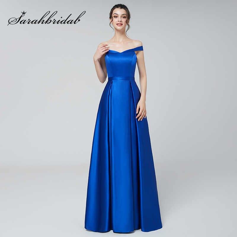 8d852288ec7d9a5 Блестящее платье Королевский Синий Атлас Вечерние платья Длинные пикантные  с плеча трапециевидной формы на молнии сзади