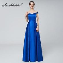 2f850aab360 Robe réfléchissante bleu Royal Satin robes de soirée longue Sexy hors de  l épaule une