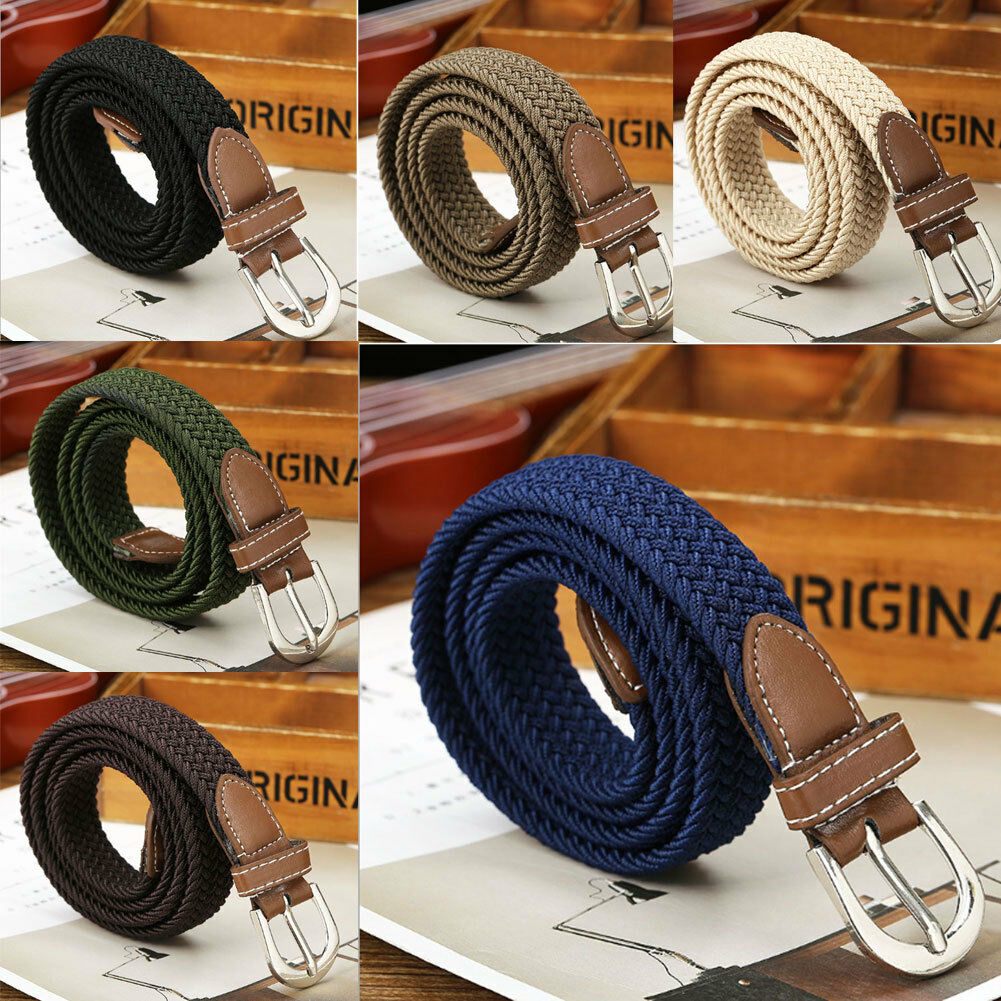 NEW Canvas Elastic Woven Leather Pin Buckle Waist   Belt   Stretch Waistband 1PC Beige Black Blue Coffee Khaki Green Hot Selling