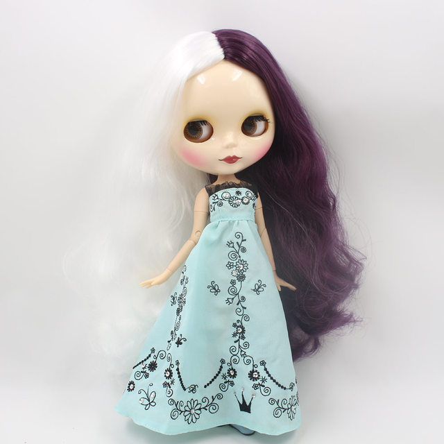 Factory Neo Blythe Doll White Purple Hair Jointed Body 30cm