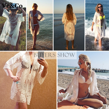 2018 Pareo Beach Cover Up Floral Embroidery Bikini Cover Up Swimwear Women Robe De Plage Beach Cardigan Bathing Suit Cover Ups