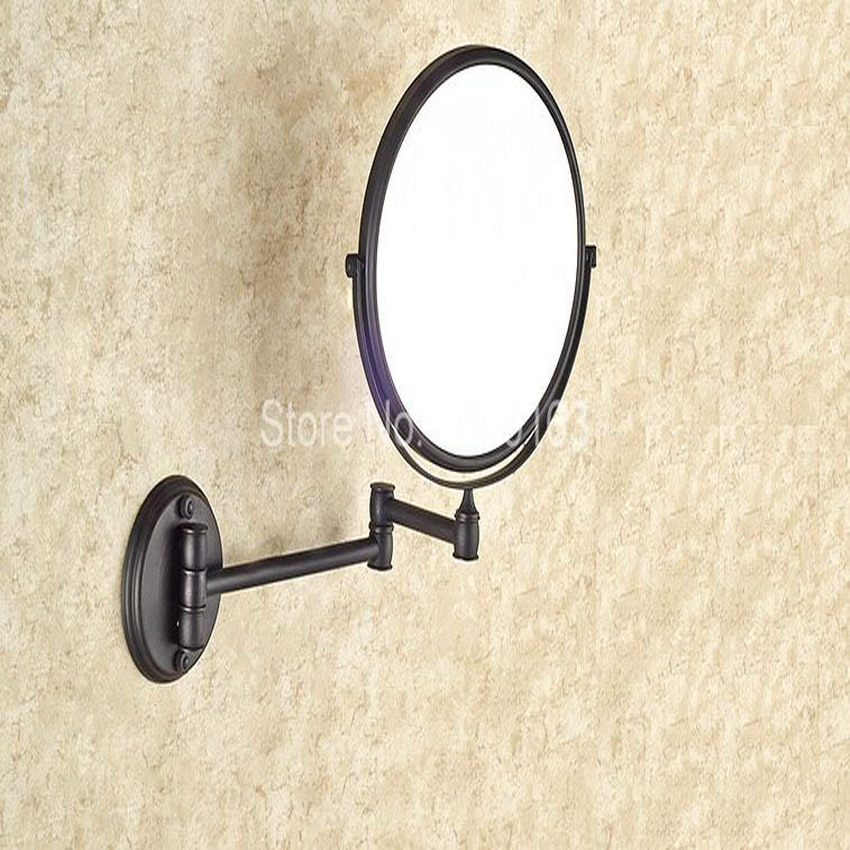 Hotel Bathroom Accessory Black Oil Rubbed Brass 8 Wall Mount Swing Arm 2-Sided Magnifying Mirror aba628