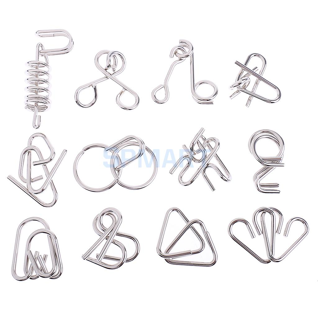 12Pcs/Set Chinese Ring Metal Wire Puzzle IQ Disentanglement Magic Brain Teaser Puzzles Game for Kids Adults Educational Toy Gift