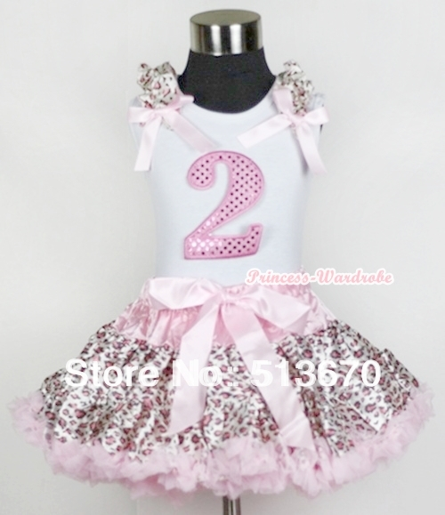 White Tank Top 2nd Sparkle Light Pink Birthday Number with Light Pink Leopard Ruffles Bow Light Pink Leopard Pettiskirt MAMG440 xmas white tank top 2nd sparkle red birthday number with red snowflakes ruffles