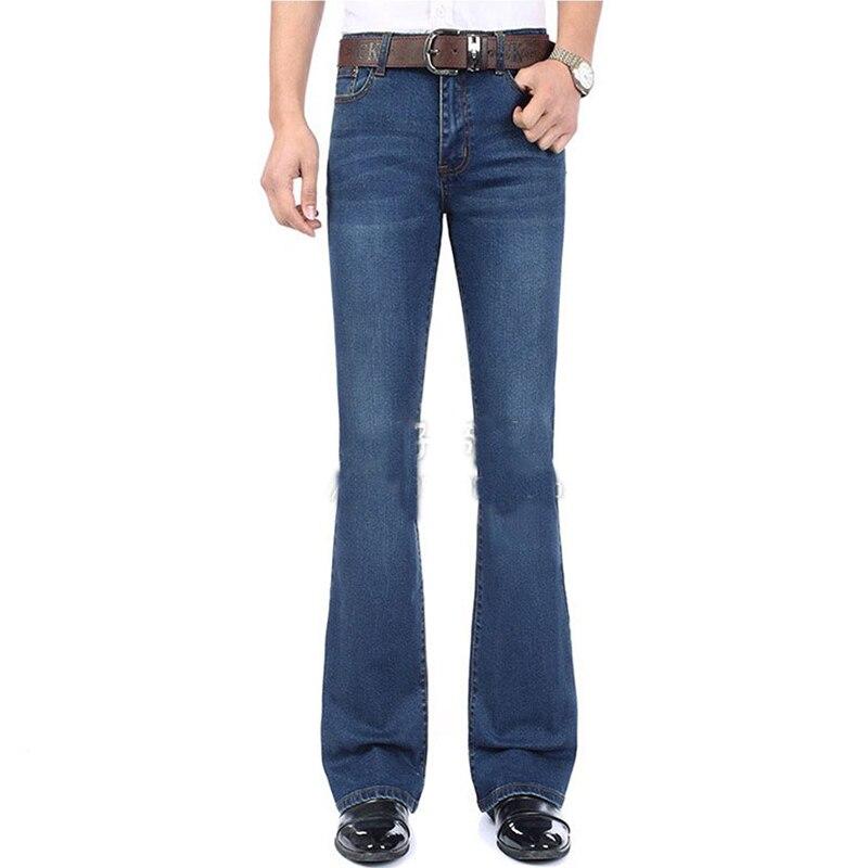 Fashion Mens Bell Bottom   Jeans   Business Blue Mid Waist Slim Fit Boot Cut Semi-flared Flare Leg Denim Pants Plus Size