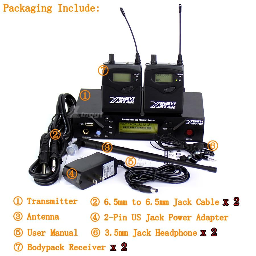 Профессиональный Сценический студия в ухо монитор UHF Беспроводной Системы два поясной приемники и один передатчик USB мониторинга в наушники