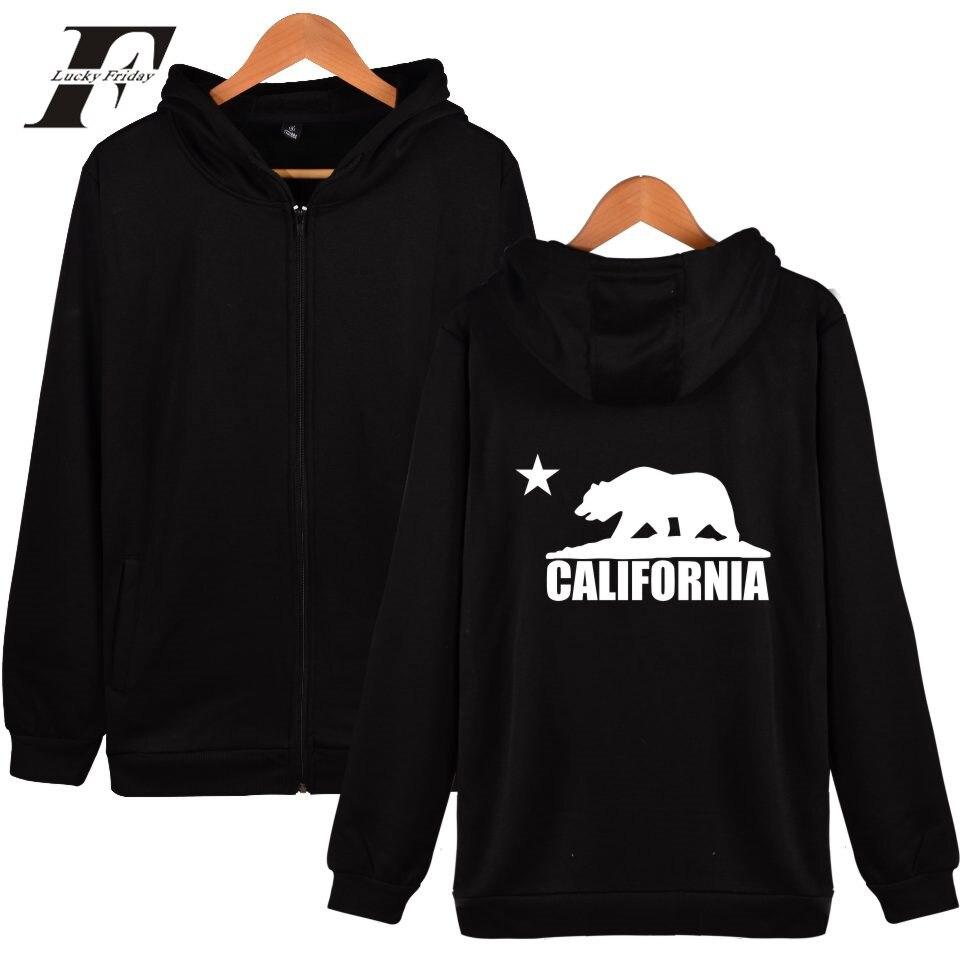 LUCKYFRIDAYF 2017 California Flag Bear Hooded Men/Women Hoodies Zipper Hip hop Sweatshirt Cotton Autumn Clothes Plus Size 4XL