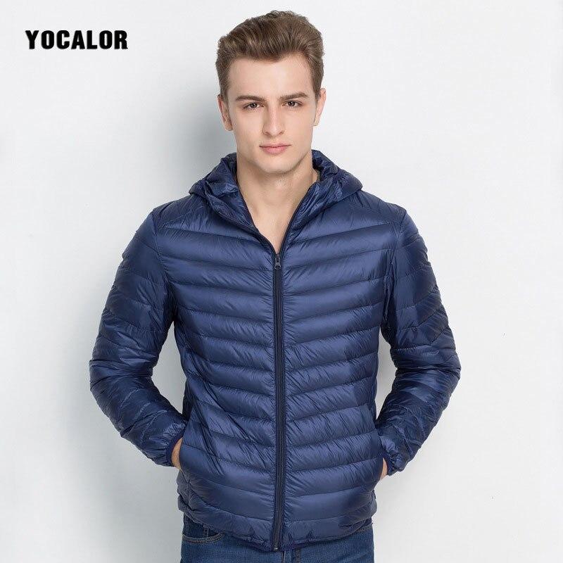 YOCALOR Ultralight Duck Down Jacket Windproof Down Coat Hood Man Winter Loose Men Male Parka Outerwear Coats Overcoat Male