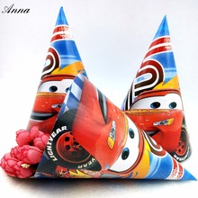 6pcs/bag Lightning Mcqueen cars Theme Caps Birthday Party Supplies For Boy/Girls Decoration Kids